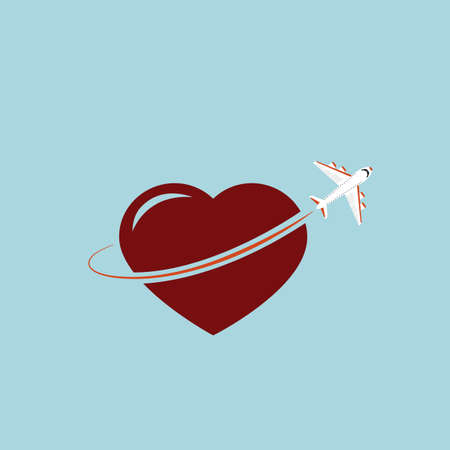 Flying airplane and big shape of heart. Love to travel by plane concept. Flat style. Vector illustration