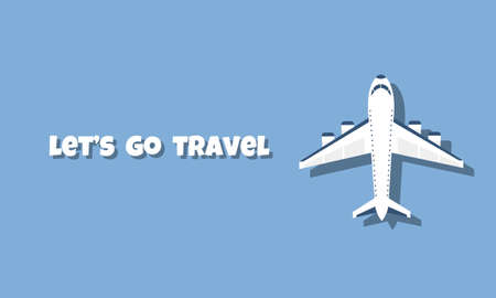 Plane. Top view. Vector illustration of airplane on blue background and place for text 矢量图像