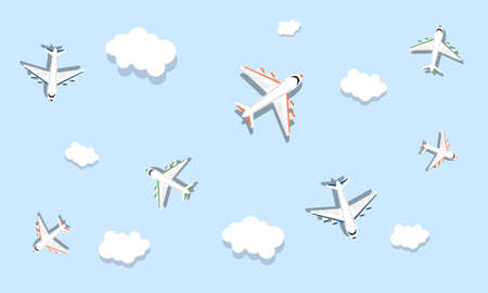 Planes in the sky and clouds. Vector illustration. Flat style Ilustração
