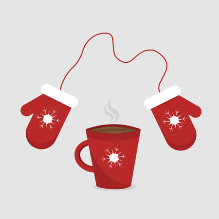 Cup of tea or hot coffee and red knitted mittens with snowflakes ornament. Cozy time in winter day. Vector illustration isolated on light background Illusztráció