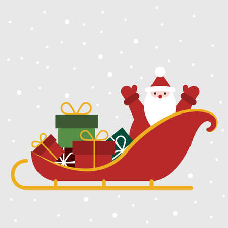 Santa Claus with gifts in a sleigh. Christmas greeting card. Vector illustration. Flat design