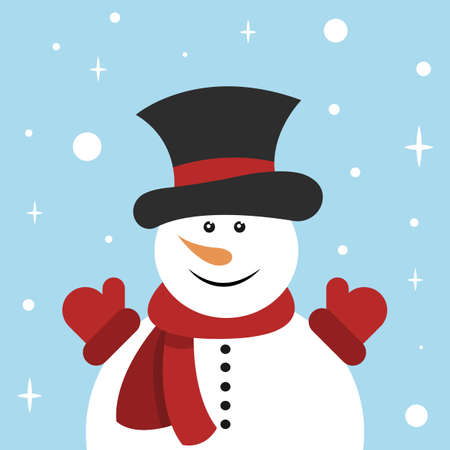 Snowman in red scarf, magician top hat and red mittens on blue background. Vector illustration. Flat style