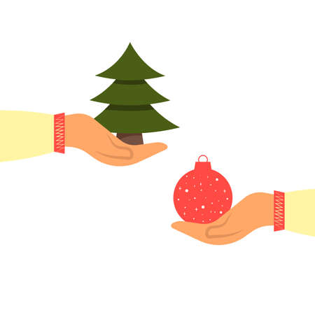 One hand holds green Christmas tree, second hand holds red Christmas ball. Flat cartoon style. Vector illustration Ilustracja