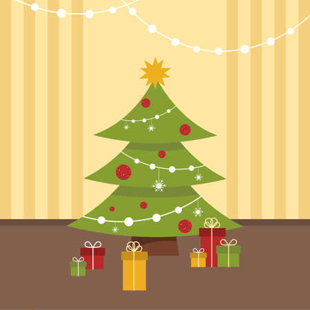 Decorated Christmas tree with gifts, lights, star, red sparkling Christmas balls, snowflakes. Flat design. Simple vector illustration