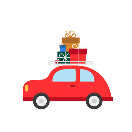 Red car with Christmas gifts isolated on white. Vector illustration. Flat style