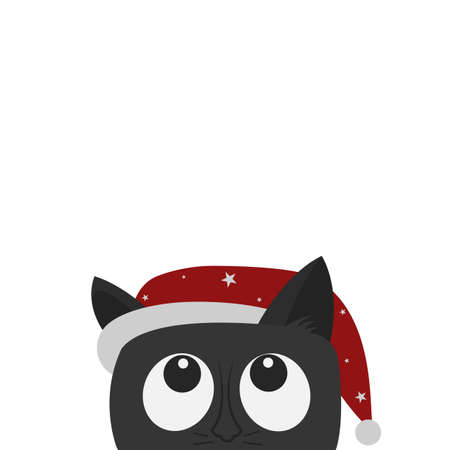 Cute cat with a christmas hat isolated on white. Cartoon character. Vector illustration. Flat style