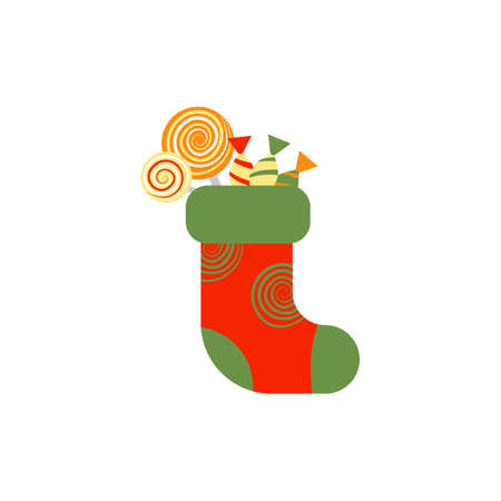 Christmas sock with candies and sweets isolated on white background
