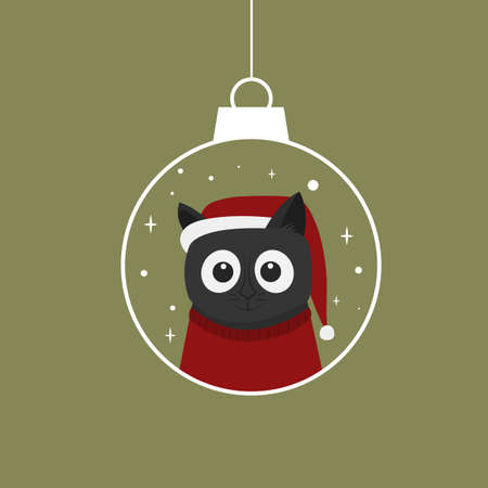Cute cat with a christmas hat in a ball isolated on green background. Cartoon character. Vector illustration. Flat style Ilustracja