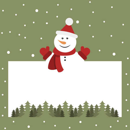 Christmas card with snowman and place for text. Vector illustration. Flat design