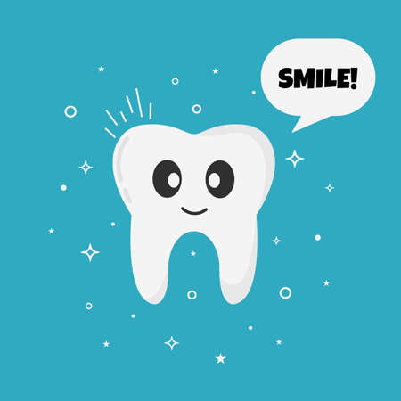 Smiling happy tooth. Speech bubble with text