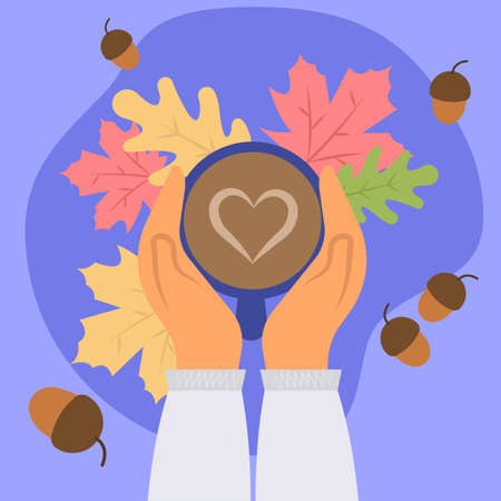 Hands holding a cup of coffee or hot chocolate with heart pattern on autumn background. Flat cartoon style. Vector illustration
