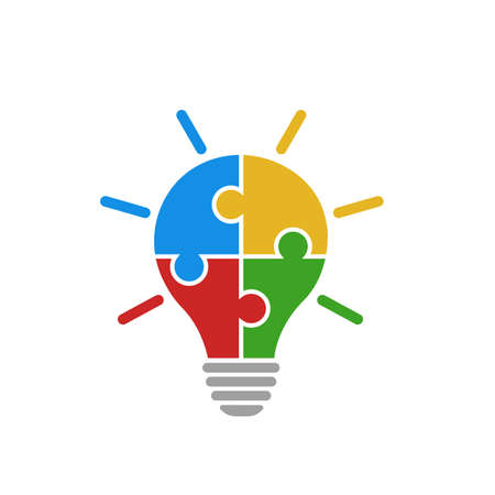 Light bulb vector icon from colorful jigsaw puzzle pieces on white background. Four puzzle pieces connected to each other