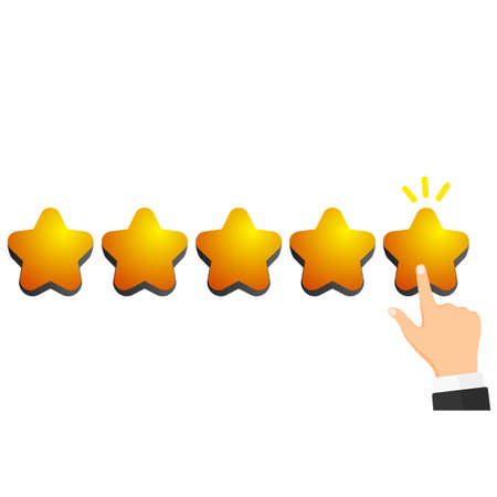 Give five stars. Customer product rating review. Vector illustration isolated on white