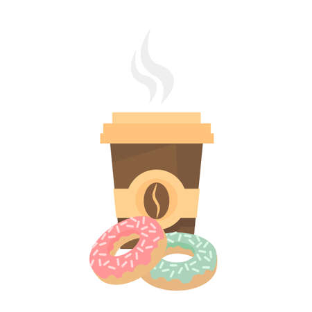 Paper cup of hot coffee and donuts. Beverage in disposable cup takeaway. Vector illustration Ilustracja