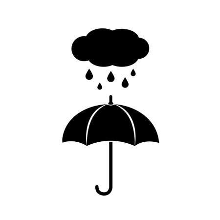 Umbrella in rain. Illustration of rainy weather icon with cloud, rain and umbrella