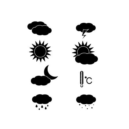 Weather icons set isolated on white background. Vector illustration in flat style