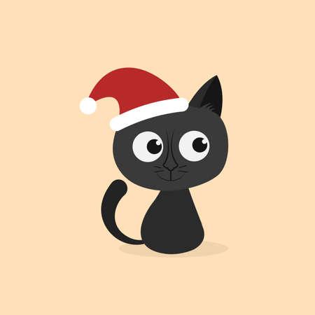 Cat with santa hat. Cartoon character. Vector illustration. Flat style
