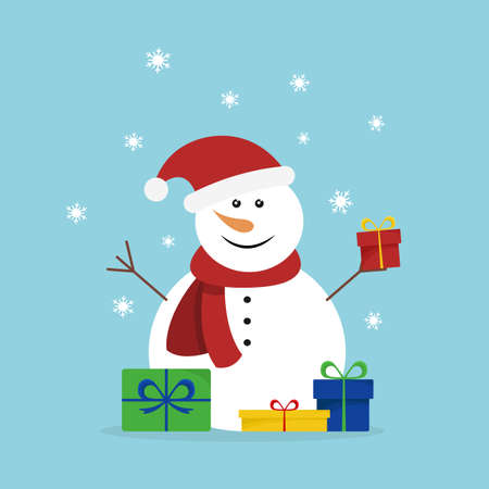 Christmas card with snowman with gifts. Vector illustration. Flat design