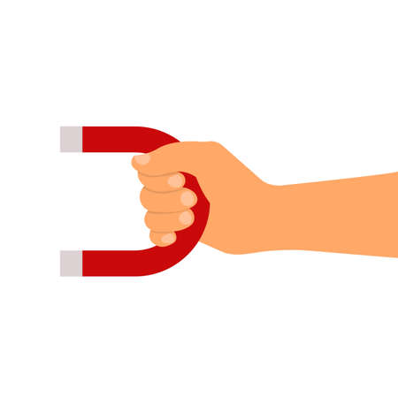 Hand with red magnet isolated on white. Vector illustration. Flat style 矢量图像