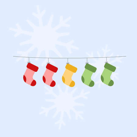 Christmas socks hanging on a clothesline. Vector illustration. Flat design 矢量图像