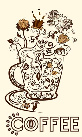 Abstract picture of a cup of coffee Vector