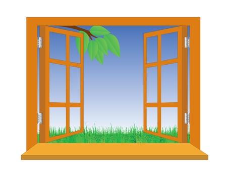 finestra: Aprire una finestra che si affaccia su un prato Vettoriali