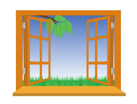 Open a window overlooking a meadow Stock Vector - 14290865