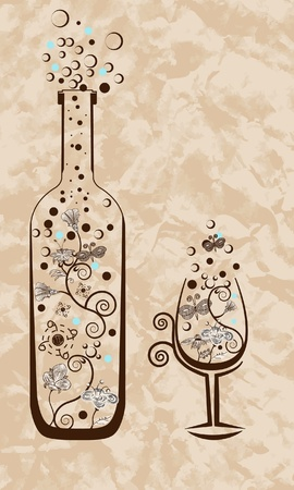 Wine bottle and glass. Abstract illustration. Vector