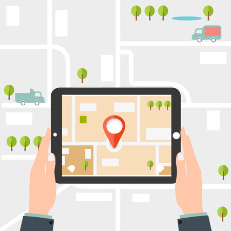 Mobile GPS-Navigation. Man hält ein Tablett Illustration
