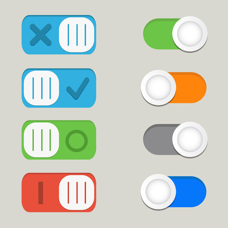 Toggle switch icons vector, on off icons
