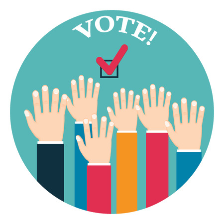 Voting poster with hands Illustration