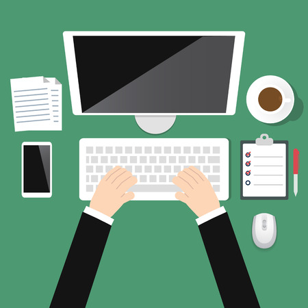 teclado: Vista superior oficina lugar de trabajo Vectores