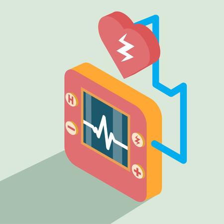 cardioverter: Defibrillator icon isometric Illustration