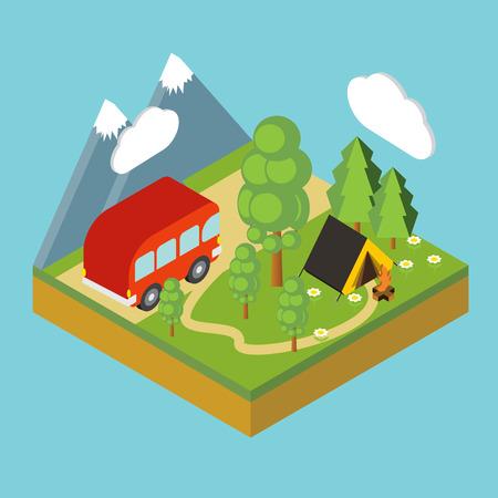 chowder: Iisometric camp, flat 3d isometric pixel art. Iinfographics illustration. Illustration