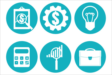 examiner: Financial examiner icon. Economic statistic icon. Vector illustration.