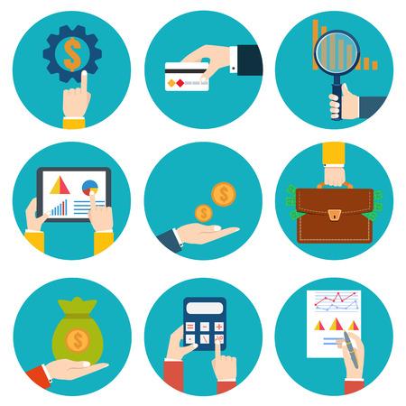 examiner: Financial examiner icon. Economic statistic icon. Vector illustration. Money in hands icons