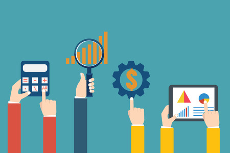 examiner: People examining economic statistic. Financial examiner. Vector illustration.