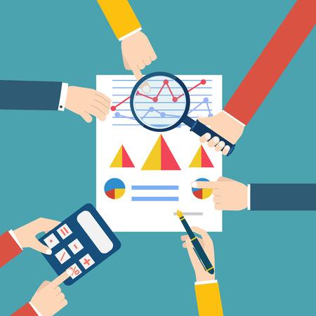 document management: Gente que examina estadística económica. Examinador financiero. Ilustración del vector.