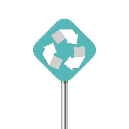 recycling center: Recycling center road pointer. Vector illustration Illustration