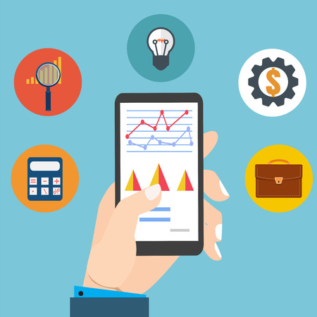 examining: People examining economic statistic, web analytics. Financial examiner. Vector illustration.Smartphone in hand.