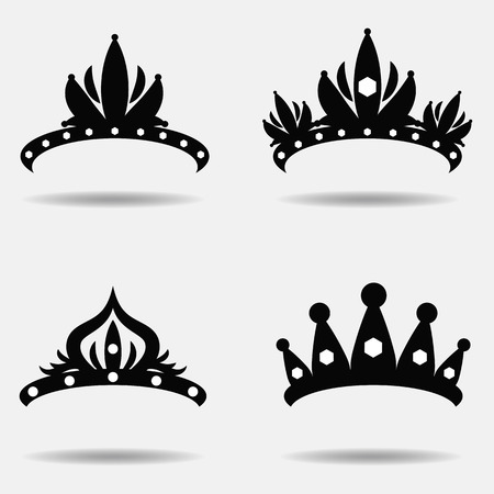 beauty pageant: Diadem vector illustration silhouette set. Set of four.