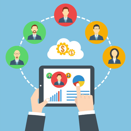 Management concept. Remote business. Project management. Businessman holding a tablet.
