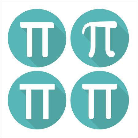 pi: Mathematic Pi icon flat set Illustration