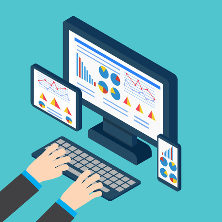 Analytics and programming vector. Web application optimization. Responsive pc Vectores