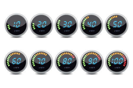 digital: Temperature gauge digital set Illustration