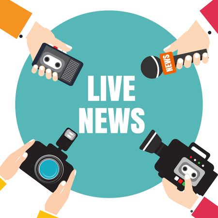 voice recorder: Set of hands holding voice recorders, microphones, camera. Live news. Press illustration.
