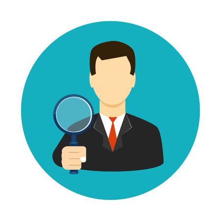 Tax inspector icon flat style