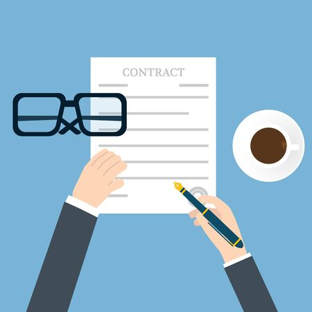 legal contract: Preparation business contract Illustration