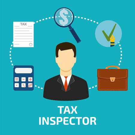 tax office: Tax inspector icon flat style