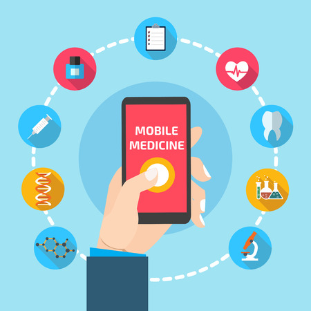 Mobile health with hand hand holding smartphone